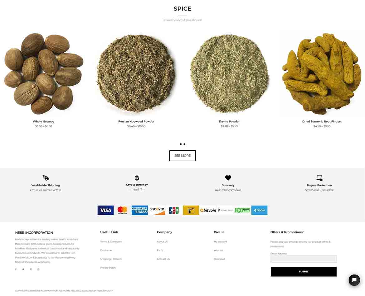 Herb Incorporation Website Footer